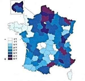 Carte de taux de calcaire en France