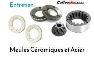 entretien des meules en céramique et acier de machine à café et robot broyeur à grains automatique